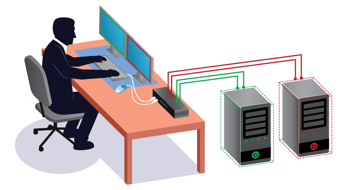 dual-monitor-KVM-switch-isometric-vector
